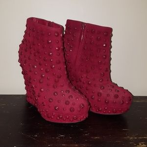 Red Wedge Booties